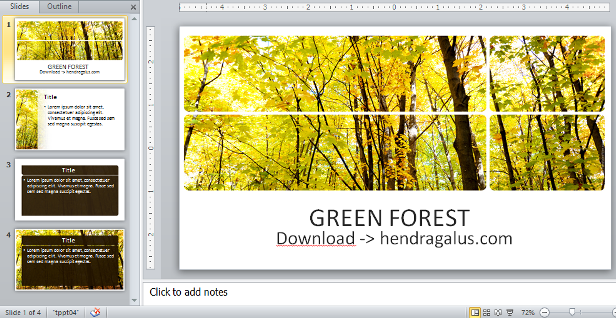 download template powerpoint, ppt, hijau, kuning, hutan, pohon