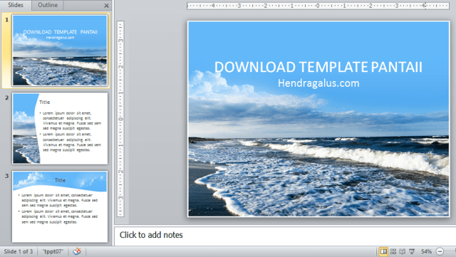 download template powerpoint, ppt, biru, pantai, ombak