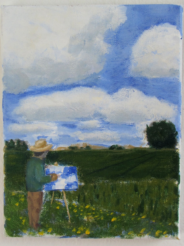 Maler maler skyer, maleri af Henrik Bruun, 2012