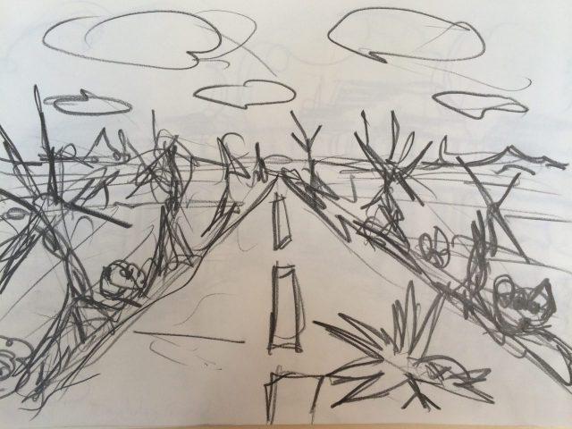 Road, drawing by Henrik Bruun
