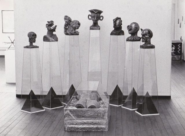 Snow White and the Seven Dwarfs, raku, glass, lead, 1988 by Henrik Bruun
