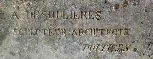 Signature d'Albert DESOULIERES sur le monument aux morts de Ligugé