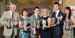 John McMordie, Helen McMordie, William McMordie, Victoria Orr, Andrew McMordie and Lesley Ann Davidson, from Ballygowan, with the trophies they received at the NI Hereford Breeders' Association dinner, Enniskillen. Picture: Cliff Donaldson