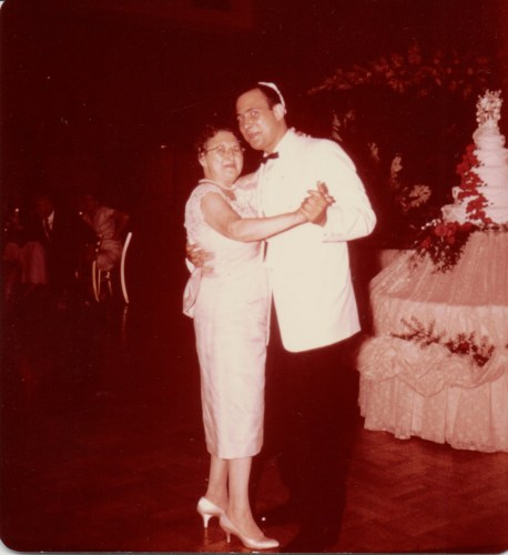 Harold R. Rubikow dancing with probe;y his mother, Loretta (Cooper) Ribakow? Summer, 1959.