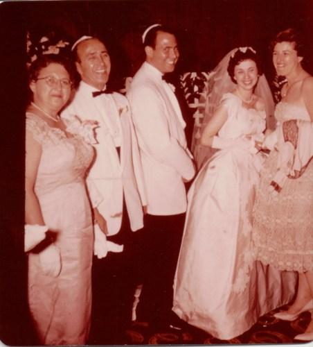 Harold Reuben Ribakow and bride, unknown bridesmaid. Possibly his parents on left, Loretta Cooper and Delmas Mayer Ribakow? Summer, 1959.