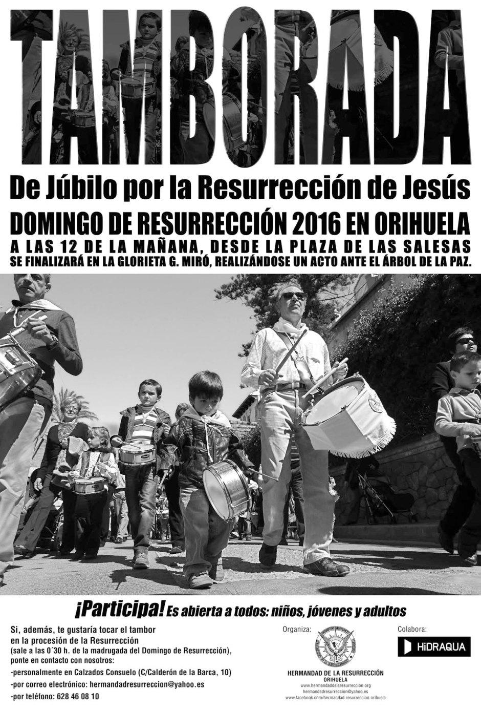 Cartel Tamborada de júbilo 2016 Orihuela