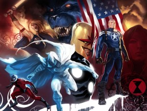 Left to right: Ant-Man, Valkyrie, Moon Knight, Beast, Nova, Steve Rogers, Black Widow. (Not pictured: War Machine, Sharon Carter)