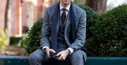 Grey Tweed Three Piece Suit - He Spoke Style