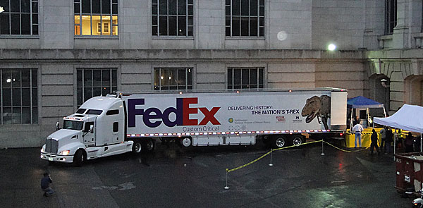 DC's resident T. rex arrives at the loading dock of the Smithsonian National Museum of Natural History in the wee hours of April 15, 2014. (Photo By: heydayjoe)