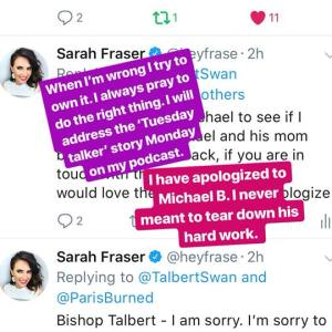 Sarah Fraser apologizes to Micheal Brown