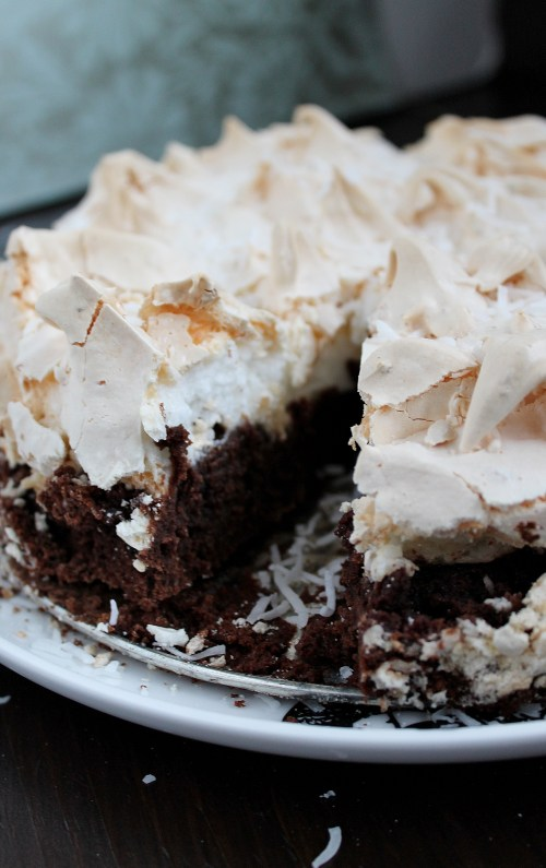 Brownie Meringue Cake