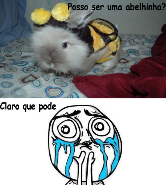 Coelho anao vestido de abelha.
