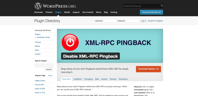 Disable XML-RPC Pingback