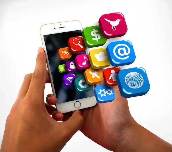 Smartphone on hands with app icons - Information technology concept