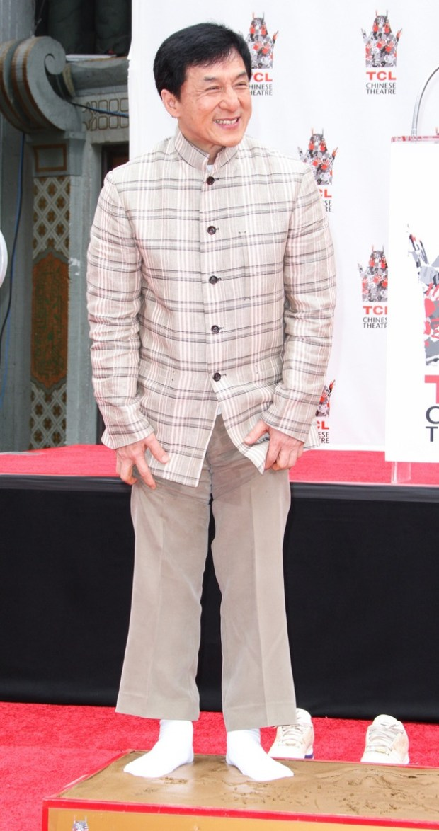 Jackie Chan at his hand and foot print ceremony at TCL Chinese Theatre in Hollywood