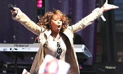 "33701, NEW YORK, NEW YORK, Tuesday, September 1, 2009, **BREAKING NEWS** Singer Whitney Houston has reportedly passed away at the Beverly Hilton hotel. Pictured: Houston and her ex-husband Bobby Brown through the years. ORIGINAL CAPTION: Whitney Houston performs on Good Morning America in Central Park. Whitney has just released her new album ""I Look u&quou"". PhotogrJGh: JGM, PacificCoastNews.com **FEE MUST BE AGREED PRIOR TO USAGE** **E-TABLET/IPAD & MOBILE PHONE APP PUBLISHING REQUIRES ADDITIONAL FEES**ÊLOS ANGELES OFFICE:1 310 822 0419ÊÊLONDON OFFICE:+44 208 090 4079"