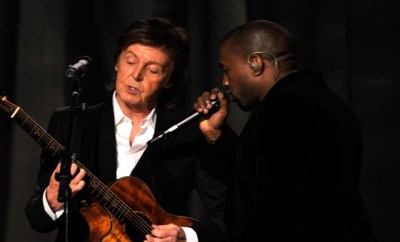 LOS ANGELES, CA - FEBRUARY 08:  Recording artists Paul McCartney (L) and Kanye West perform onstage during The 57th Annual GRAMMY Awards at the STAPLES Center on February 8, 2015 in Los Angeles, California.  (Photo by Lester Cohen/WireImage)