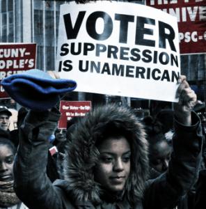 Voter suppression sign