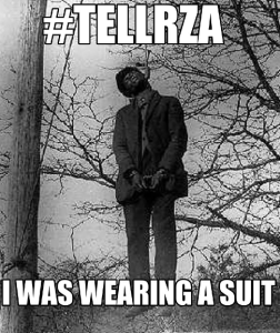 Black man hung with suit