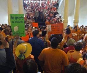 Hundreds flood state capital in Austin to Protest Sb5 which will cripple Reproductive Rights