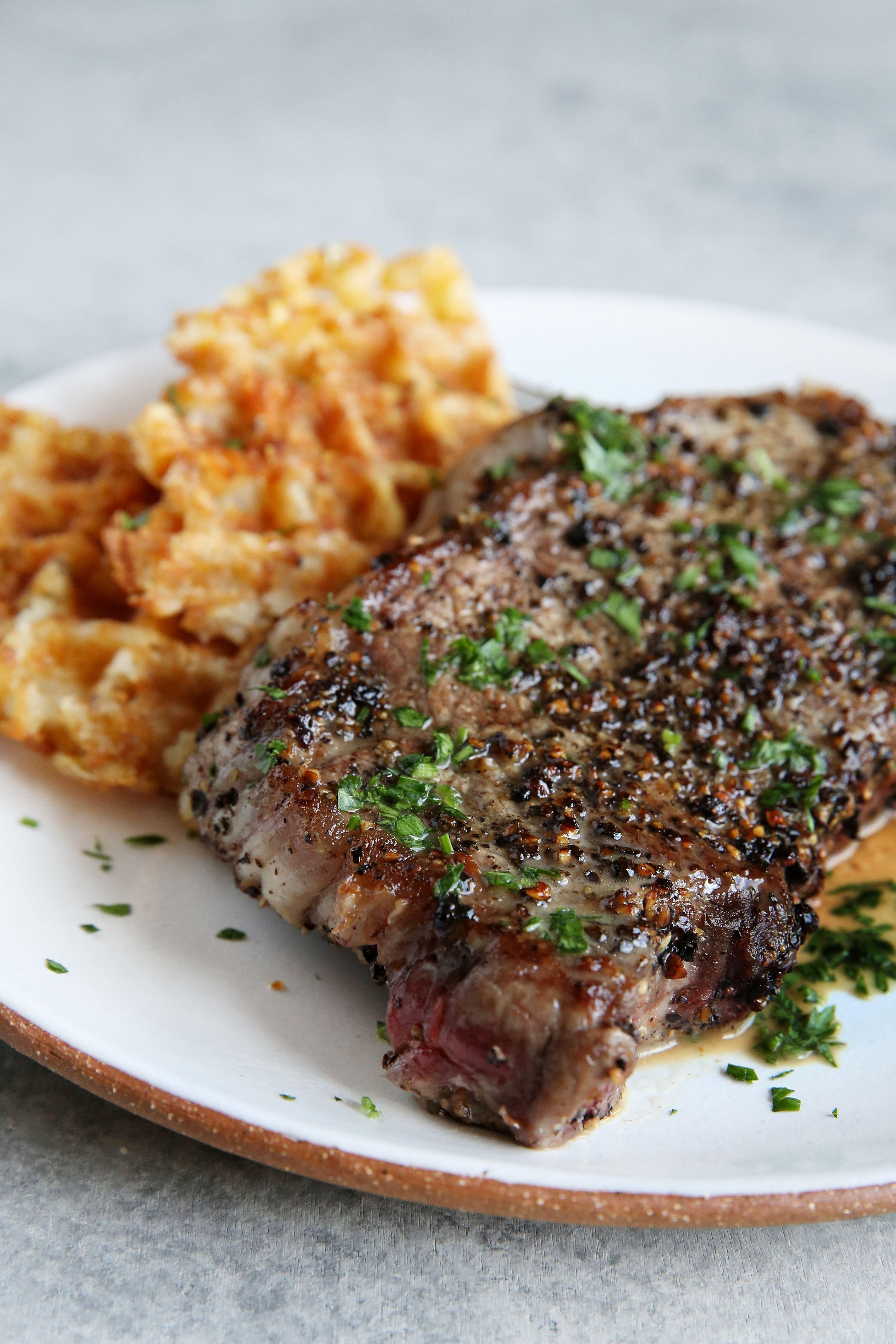 Fascinating Steak Tater Tot Wafflesp1 Sides Shrimp 1472211496 Steak Au Poivre Steak Chips Sides nice food Best Sides For Steak