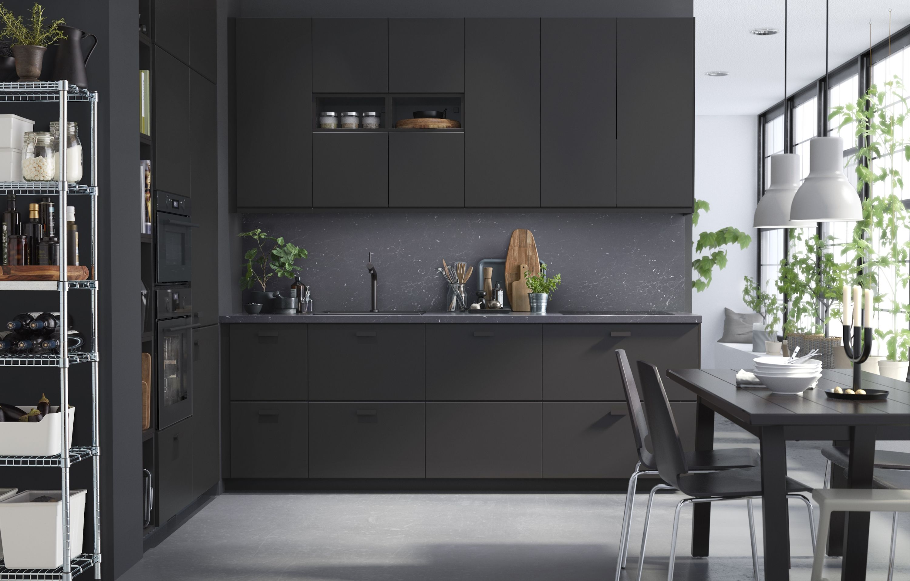 Luxurious Glass Doors Ikea Kitchen Cabinets Made From Recycled Materials Black Ikea Cabinets Black Kitchen Cabinets Appliances Black Kitchen Cabinets houzz-02 Black Kitchen Cabinets