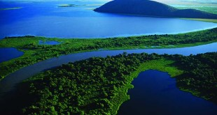 An aerial view of the Pantanal, the largest freshwater estuary in the world. The Pantanal is located in western Brazil, along the Paraguay River and adjacent to to the Bolivian border.