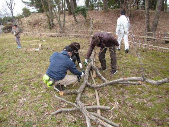 コナラの木にシイタケの菌を打つ参加者