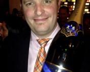 Alistair Veen, with celebratory double magnum of de Venoge