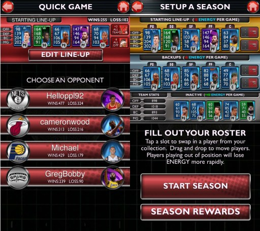 Quick game and season mode setup.