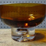 Vintage amber glass footed bowl | H is for Home