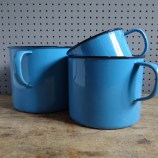 graduated blue enamel mugs