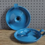 Pair of blue enamel candleholders