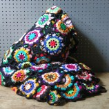 Vintage crocheted granny squares throw   H is for Home