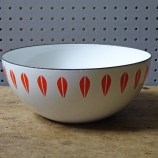 Vintage white and orange Cathrineholm Lotus enamel bowl | H is for Home