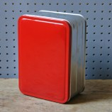Red vintage sandwich tin | H is for Home