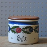 Vintage lidded Rorstrand pottery salt pot