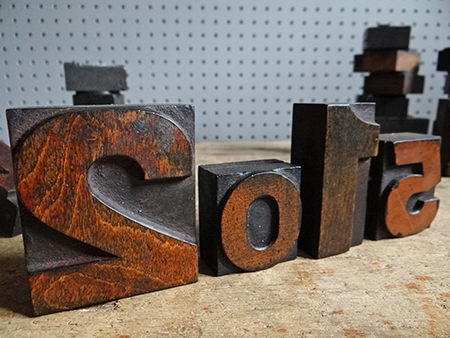 2015 spelt out in vintage wooden printing blocks