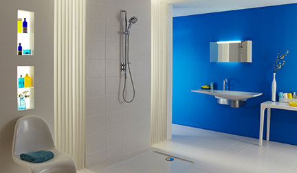 white bathroom with Mira shower and Mediterranean blue feature wall