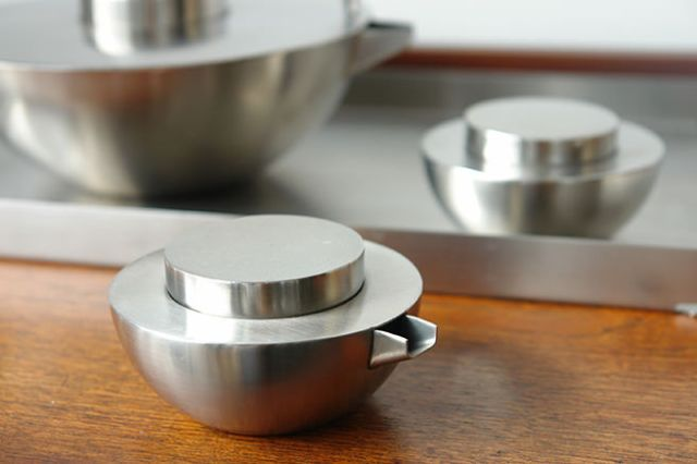 Detail of the milk jug from a stainless steel 'Asia' Blomus tea set