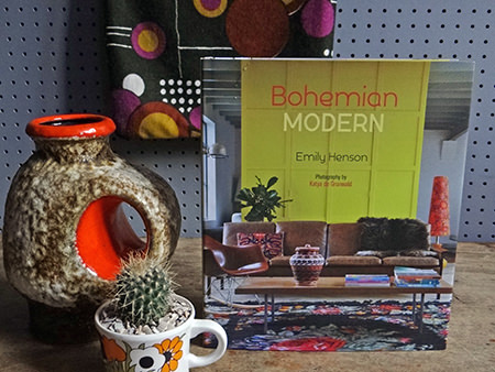 Bohemian Modern book with  West German vase, vintage fabric and mug with cactus