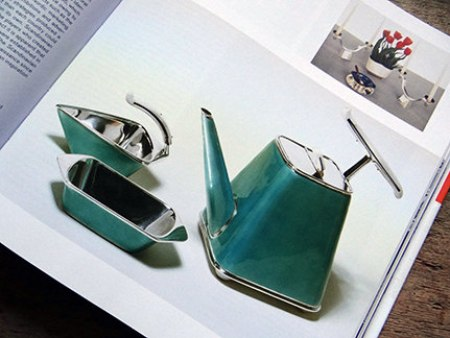 green Grete Prytz Kittelsen-designed enamel tea set