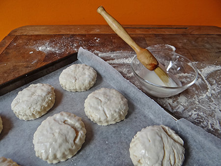 Scones being glazed with buttermilk | H is for Home