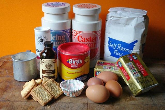 Home-made Custard Cream cupcake ingredients