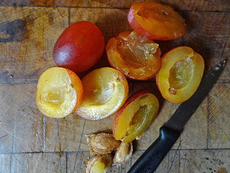 Halved plums