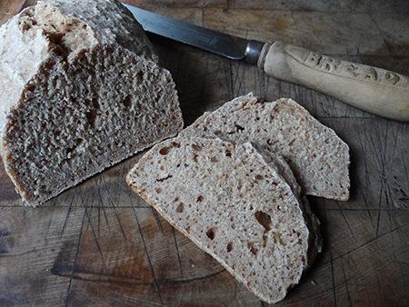 Loaf of Roman bread, sliced