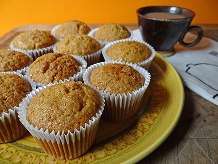 Sugar sprinkled sweet potato muffins
