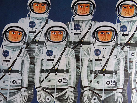 Astronauts illustration from a vintage 'This is Cape Canaveral' book