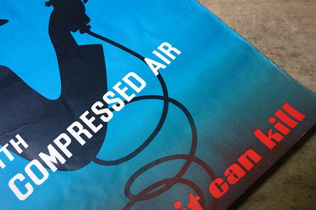 Detail from a vintage Leonard Cusden designed safety poster 'Don't fool with compressed air it can kill' | H is for Home