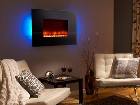 Wall-mounted electric fire with blue backlighting